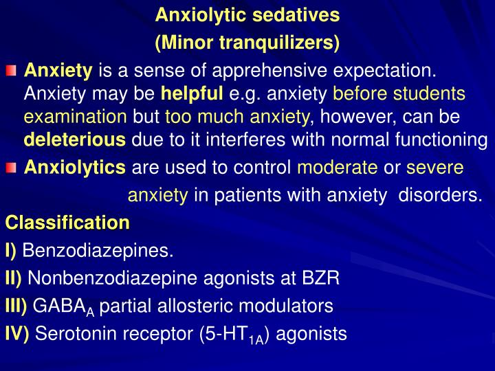 PPT - Anxiolytic sedatives (Minor tranquilizers) PowerPoint