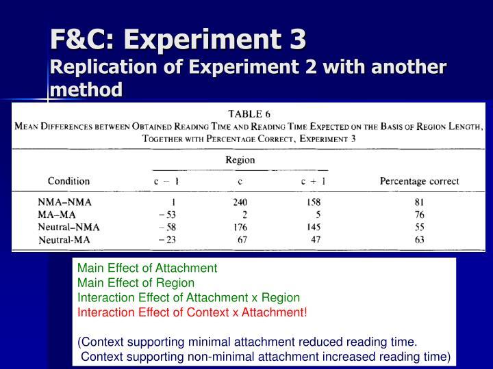 F&C: Experiment 3