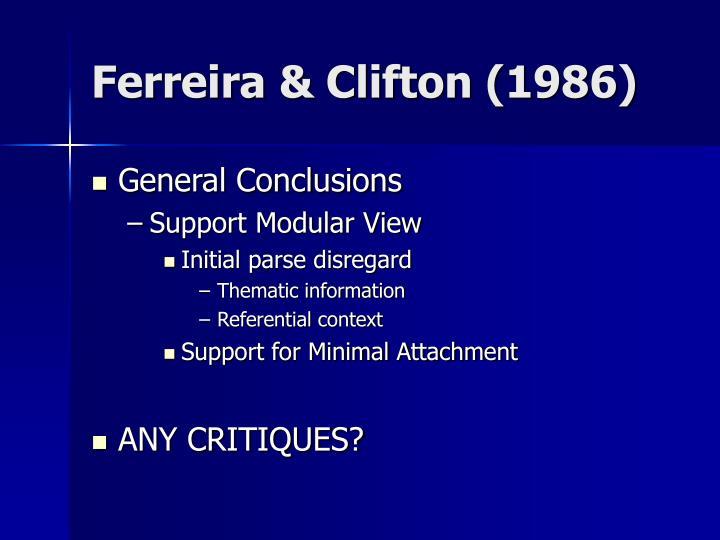 Ferreira & Clifton (1986)