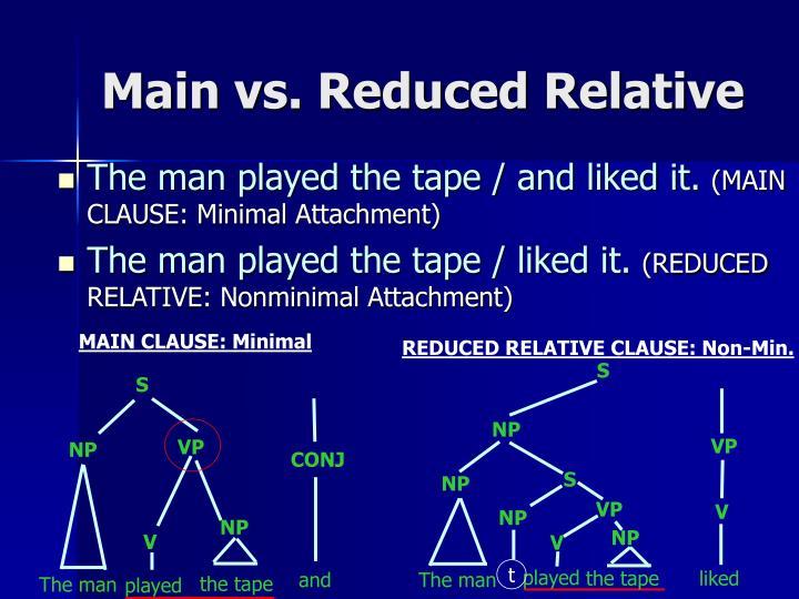 Main vs. Reduced Relative