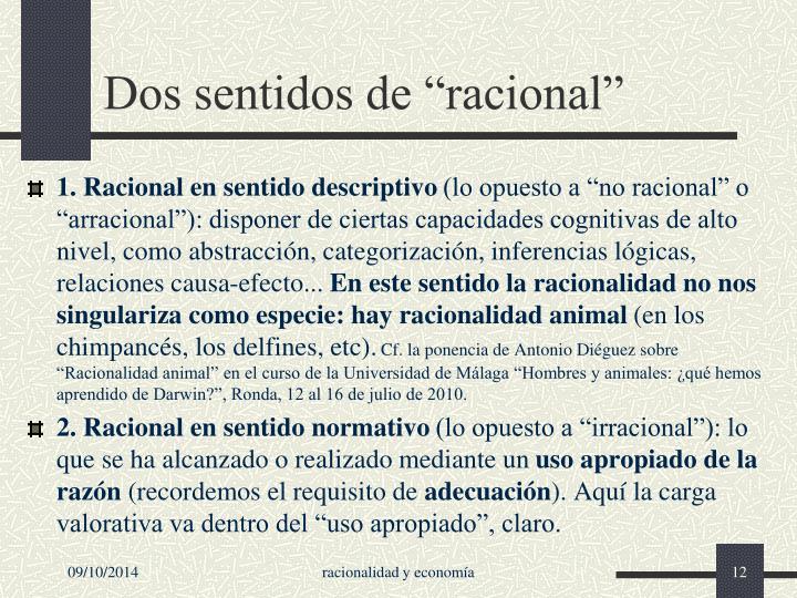 """Dos sentidos de """"racional"""""""