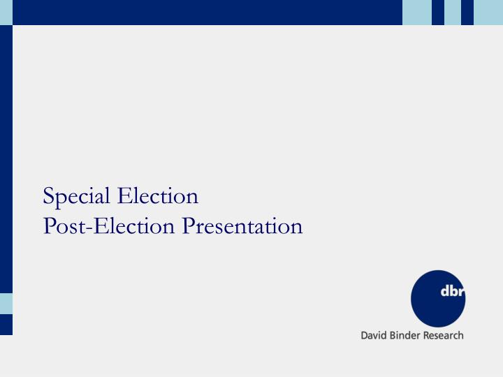 special election post election presentation n.