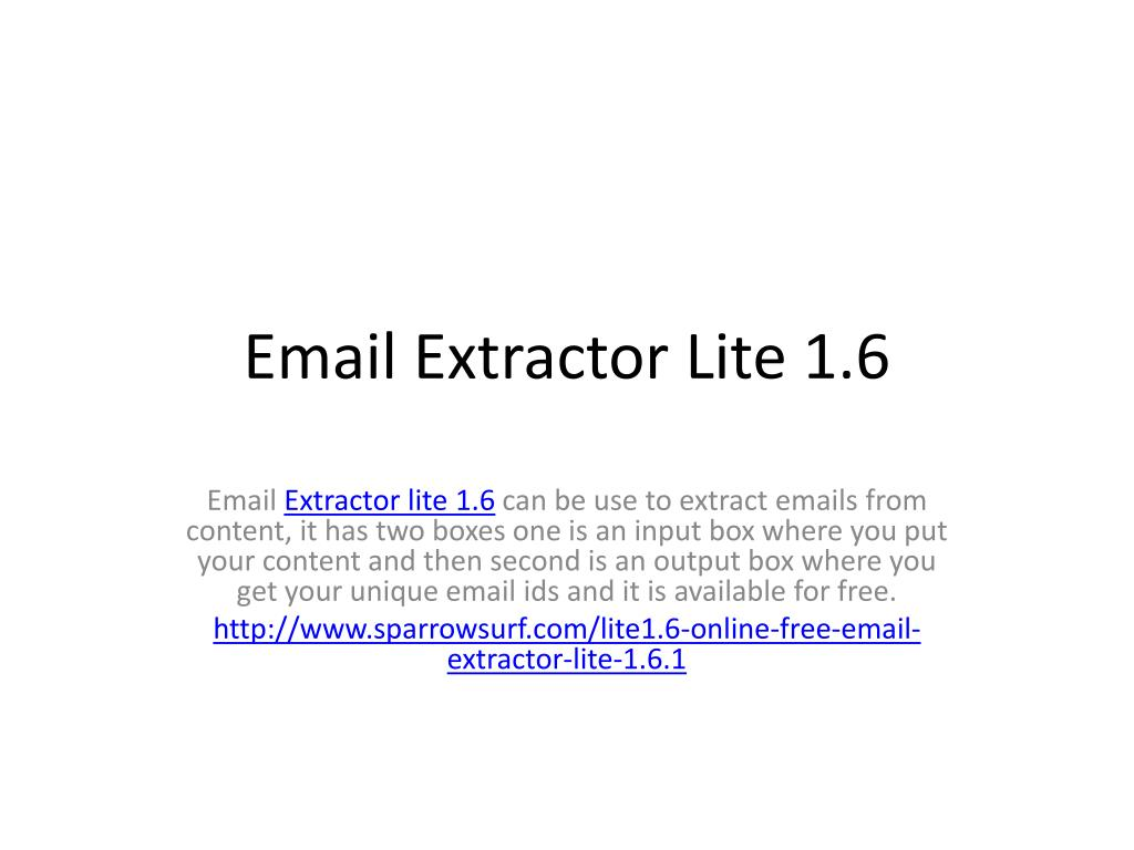 email extractor lite 1.6 1 free download