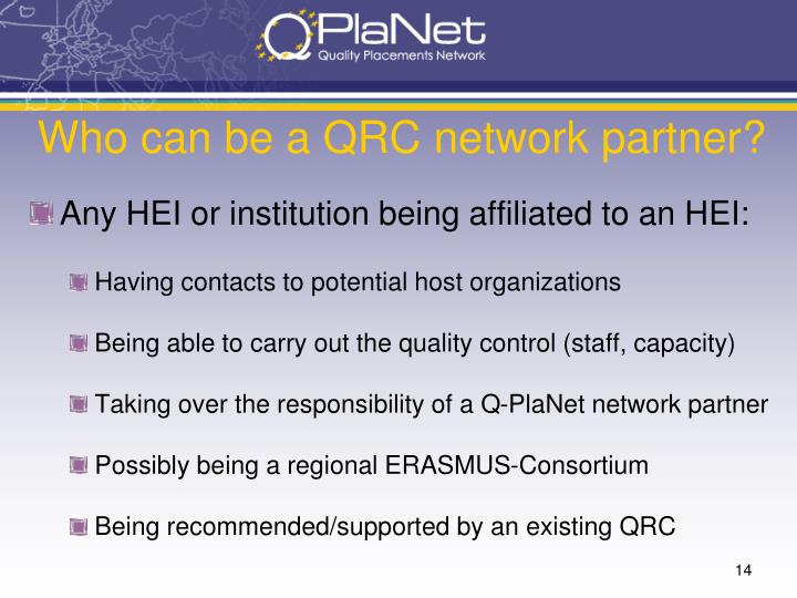 Who can be a QRC network partner?