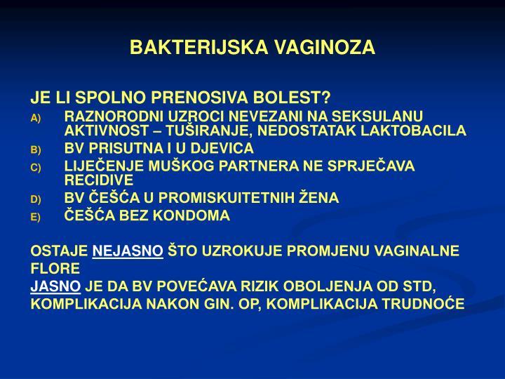 BAKTERIJSKA VAGINOZA