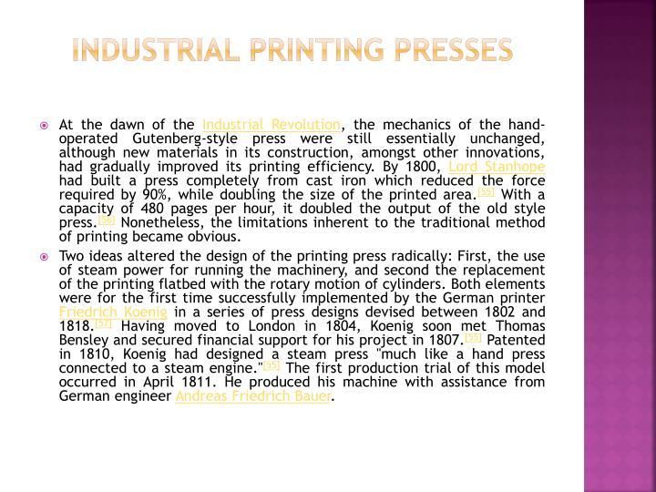 Industrial printing presses