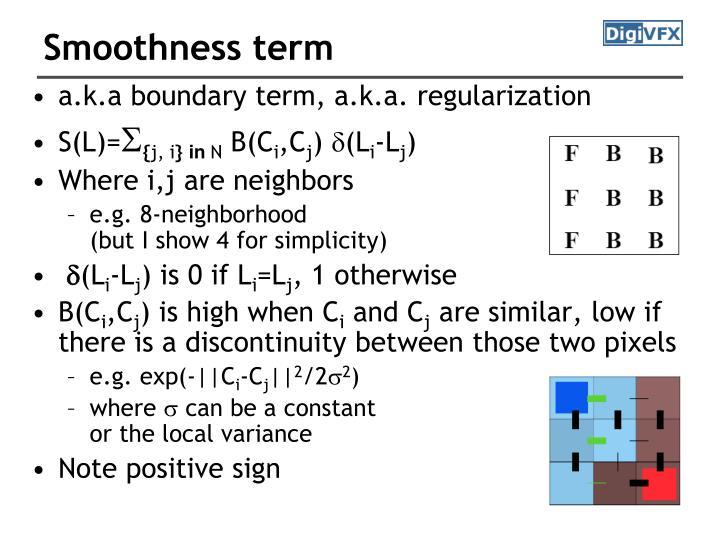 Smoothness term