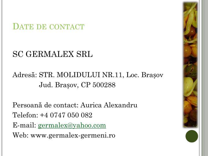 Date de contact