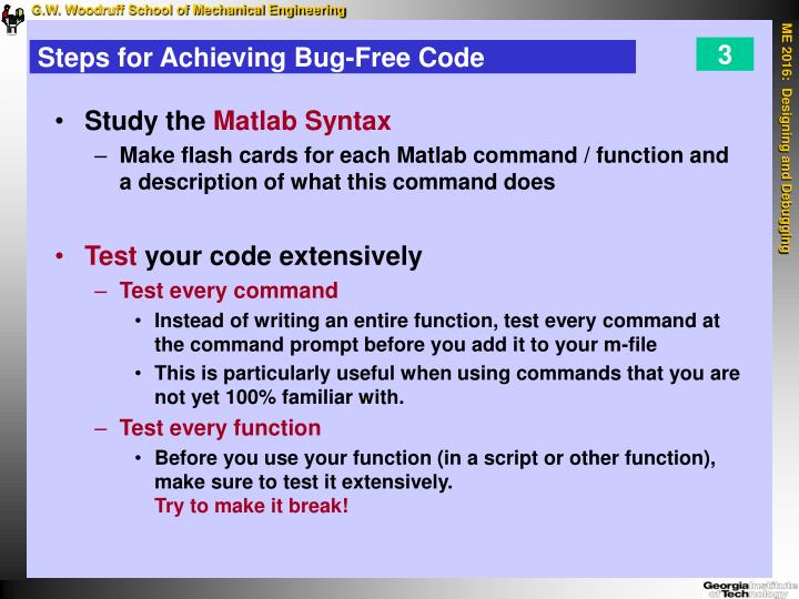 Steps for achieving bug free code