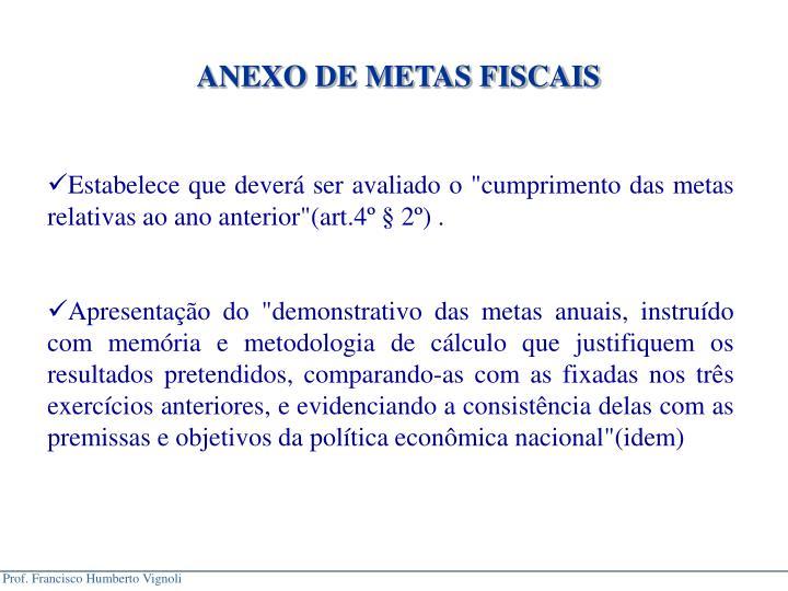 ANEXO DE METAS FISCAIS