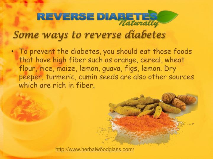 Some ways to reverse diabetes