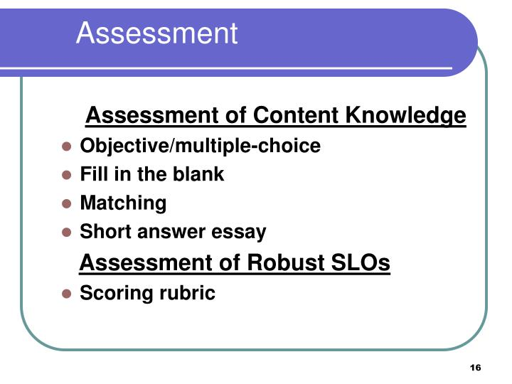 Assessment of Content Knowledge