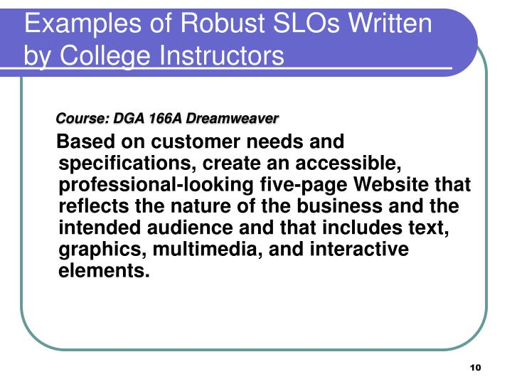 Examples of Robust SLOs Written