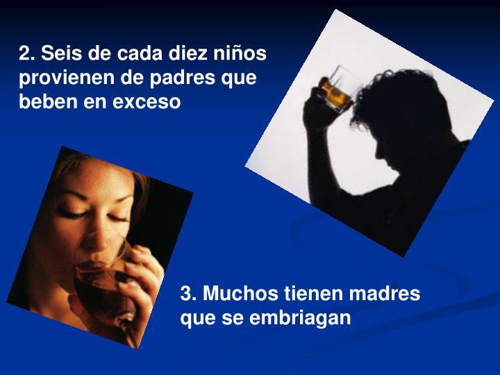 2. Seis de cada diez niños provienen de padres que beben en exceso