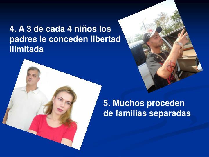 4. A 3 de cada 4 niños los padres le conceden libertad ilimitada