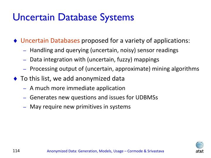 Uncertain Database Systems