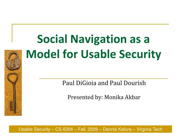 social navigation as a model for usable security n.
