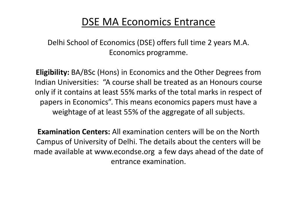 PPT - M A  Economics Entrance Exam India PowerPoint Presentation