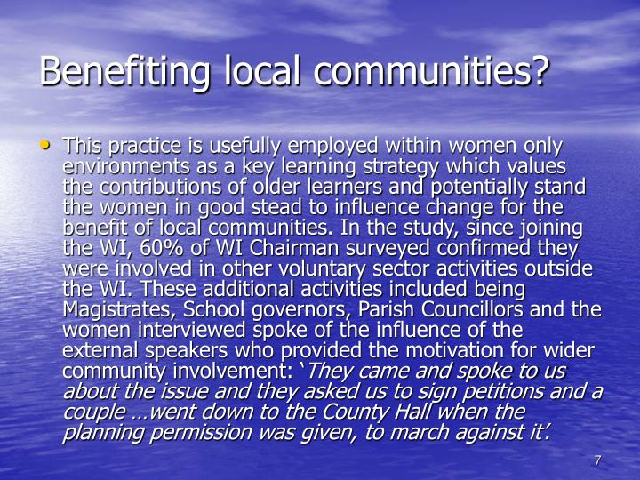 Benefiting local communities?