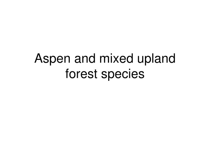 aspen and mixed upland forest species n.