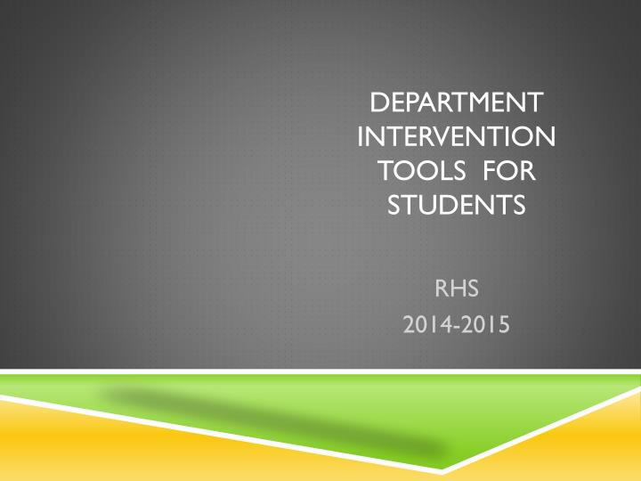 department intervention tools for students n.