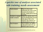a quickie tour of analyses associated with training needs assessment