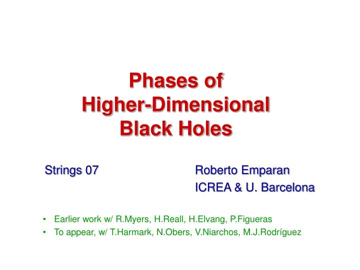phases of higher dimensional black holes n.