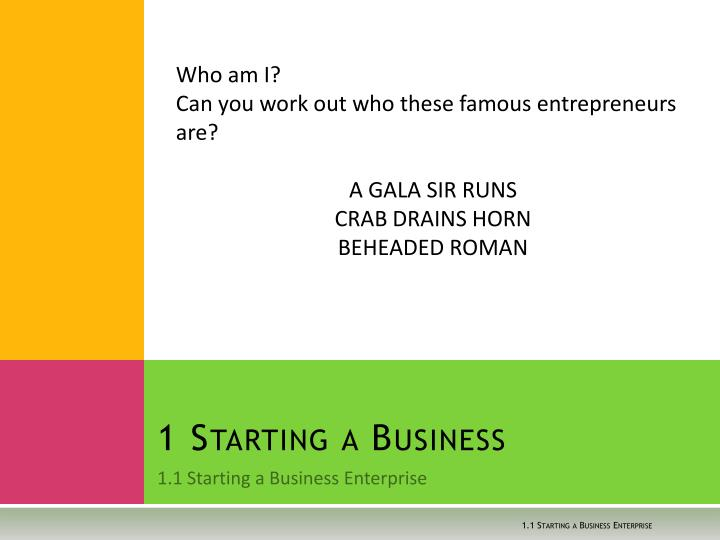 1 starting a business n.