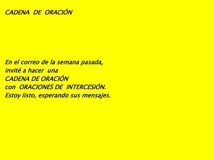 CADENA  DE  ORACIÓN