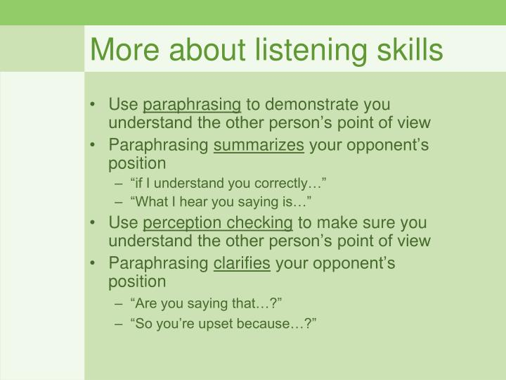 More about listening skills