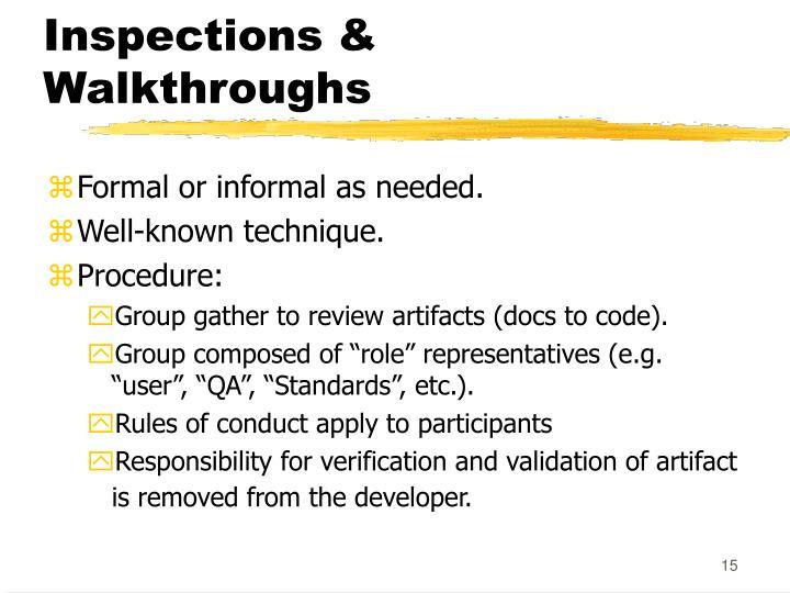 Inspections & Walkthroughs