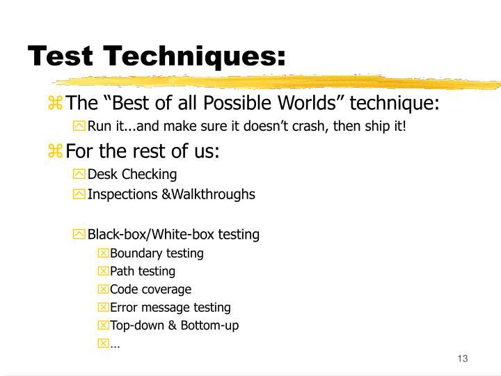 Test Techniques: