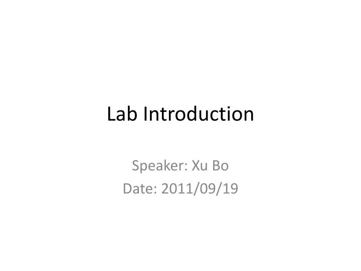 lab introduction n.