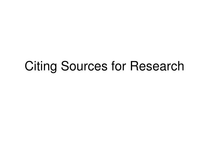 citing sources for research n.
