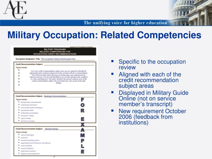 Specific to the occupation review