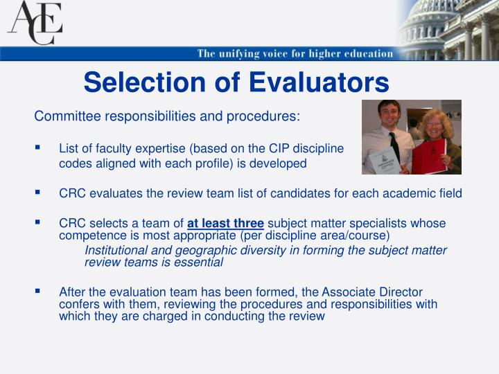 Selection of Evaluators