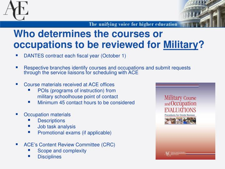 Who determines the courses or occupations to be reviewed for