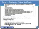 parte 1 objetivo del t tulo o certificado
