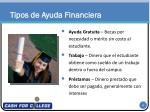 tipos de ayuda financiera