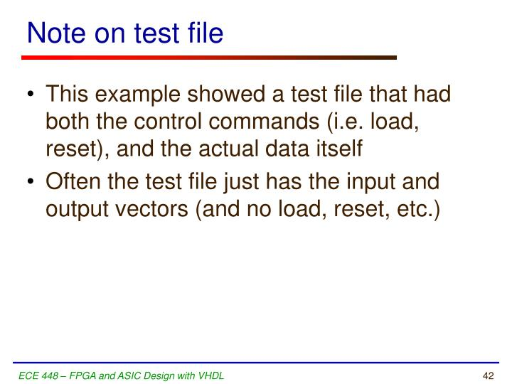 Note on test file