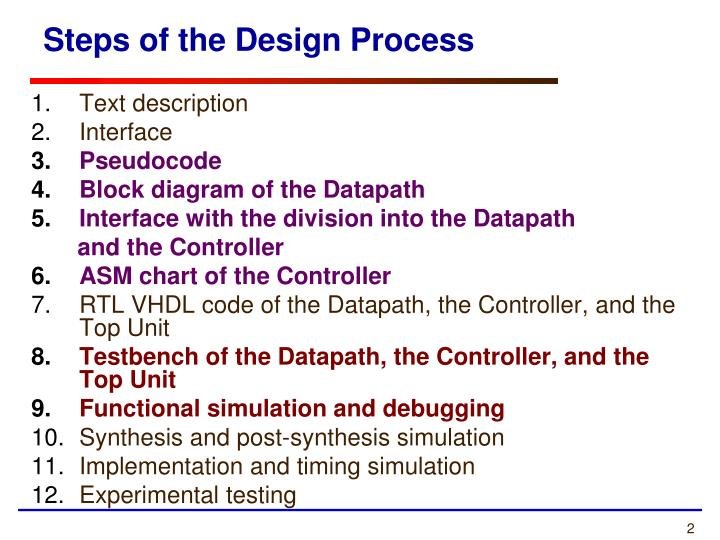 Steps of the design process
