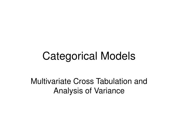 categorical models n.
