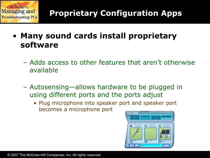 Proprietary Configuration Apps