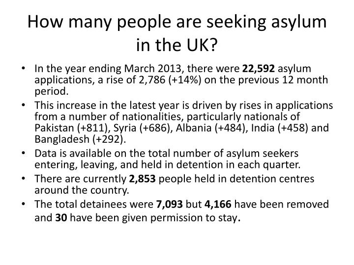 How many people are seeking asylum in the UK?