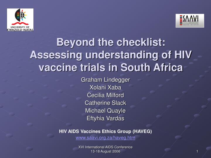 beyond the checklist assessing understanding of hiv vaccine trials in south africa n.