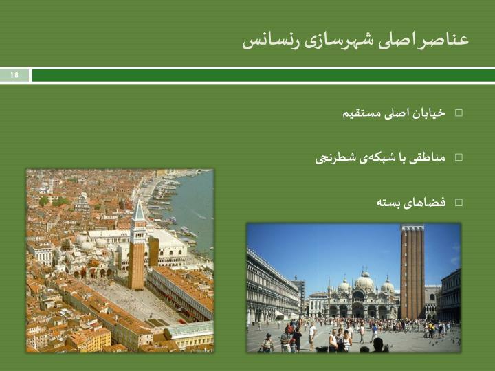عناصر اصلی شهرسازی رنسانس