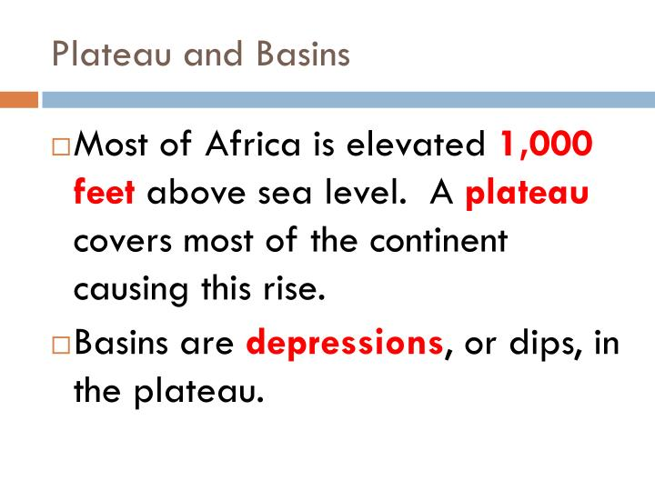 Plateau and basins