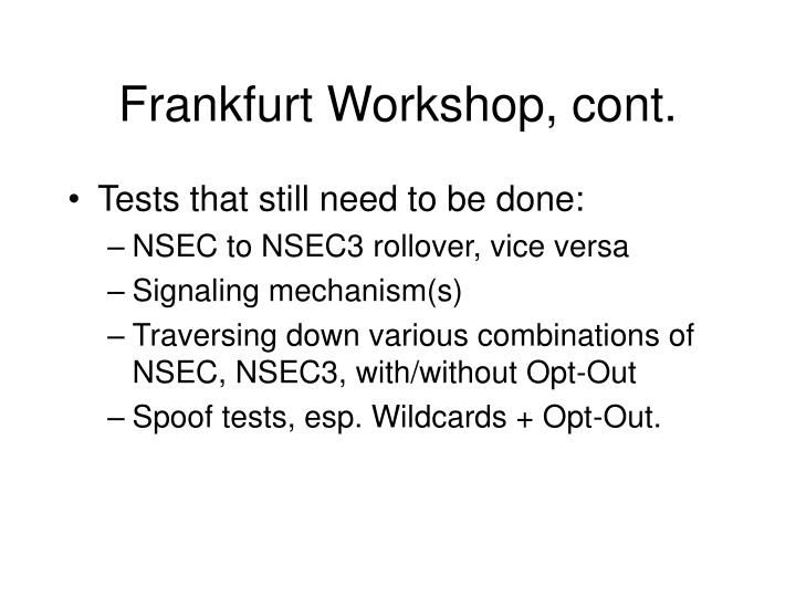 Frankfurt Workshop, cont.