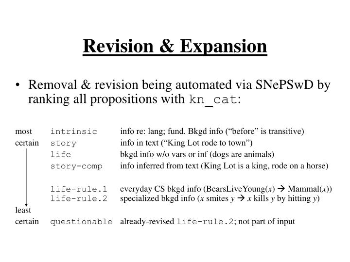 Revision & Expansion