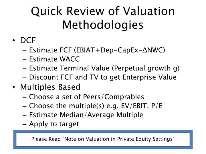 Quick Review of Valuation Methodologies